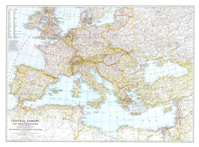Central Europe and the Mediterranean  -  Published 1939 Map
